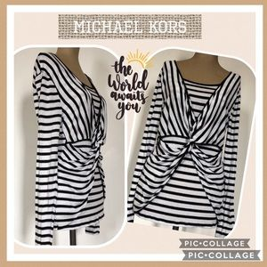 Michael Kors Striped Overlapping Pullover Top